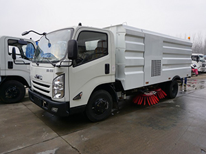Test of suction capacity of road sweeper truck